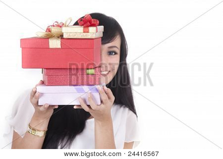 Asian Woman With Christmast Present