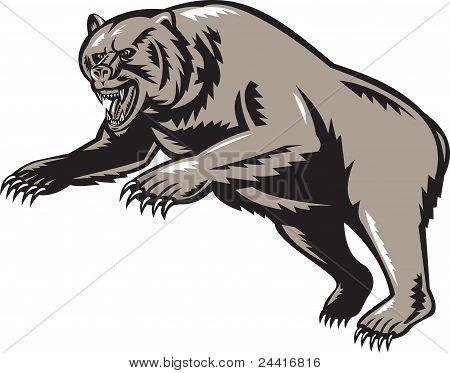 Oso grizzly atacando a grabar en madera estilo