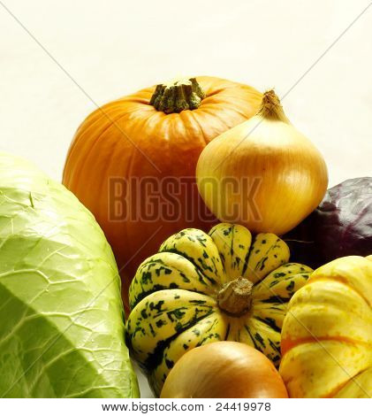 Pumpkins And Fresh Vegetables