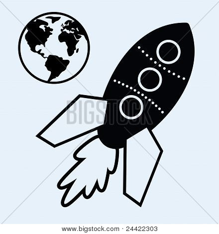 Rocket Ship And Planet Earth Symbols