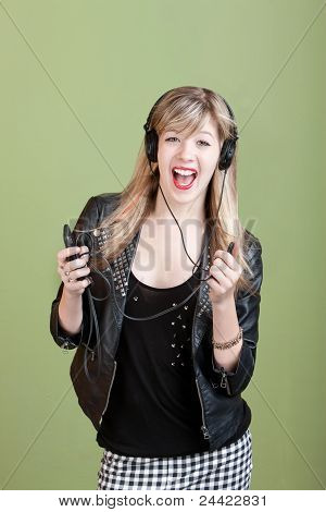 Young Lady Listens To Music