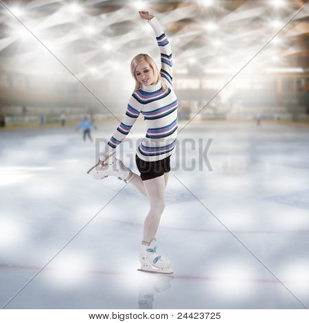 Young Beautiful Woman Ice Skating