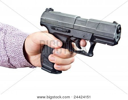 Isolated Hand Hold Pistol Background
