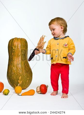 Cute Little Baby With Colorful Pumpkins Isolated On White
