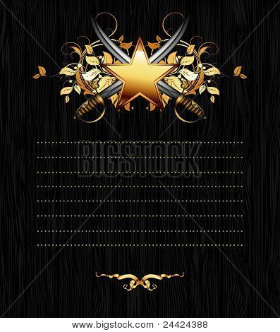 ornate frame with star and sabers