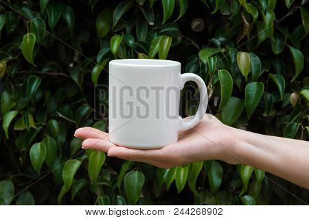 poster of Young Caucasian Woman Holding In Hand White Mockup Mug On Green Tree Foliage Nature Background In Fo