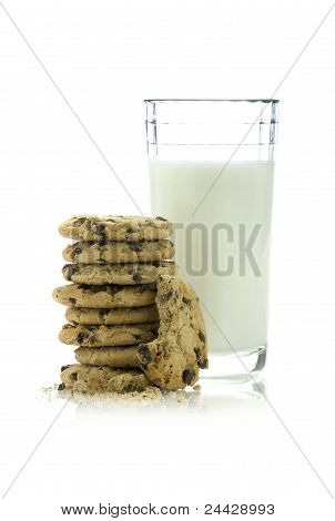 Chocolate chip cookies and milk.