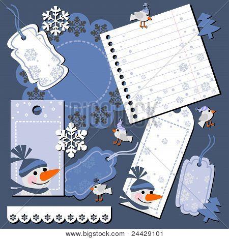 vector christmas scrap booking set