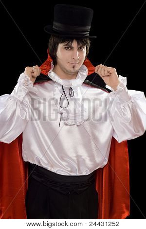 Young Man In A Suit Of Count Dracula