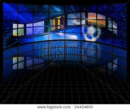Wall of screens with film