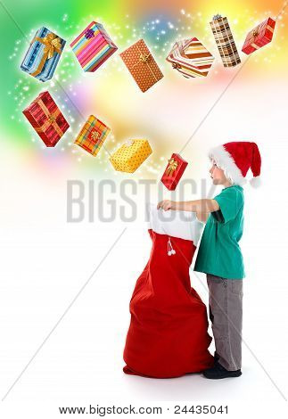 Little Boy Opening Santa Bag With Wonderful Presents