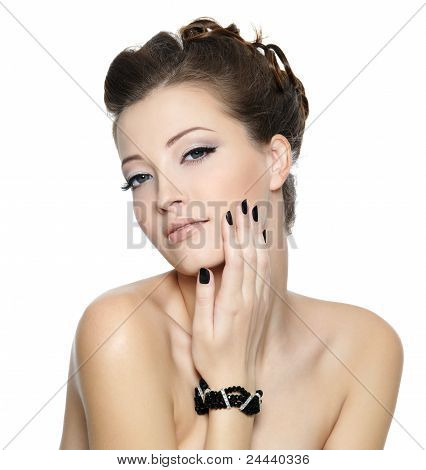 Beautiful Glamour Woman With Black Nails