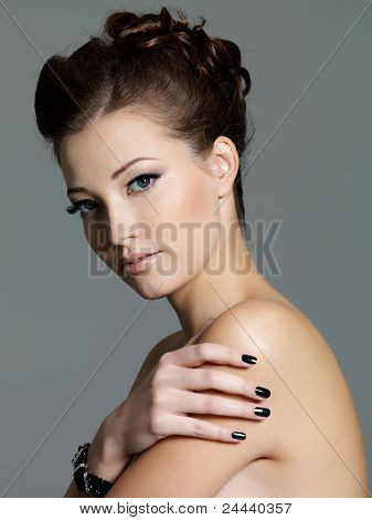 Pretty Young Sensual Girl With Black Manicure