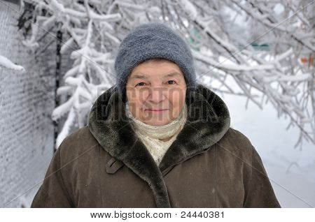 Portrait Of A Old Woman In Winter