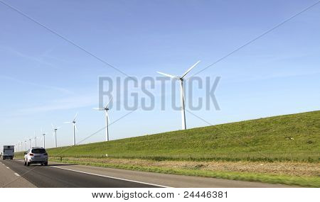 Windturbines Near A Motorway
