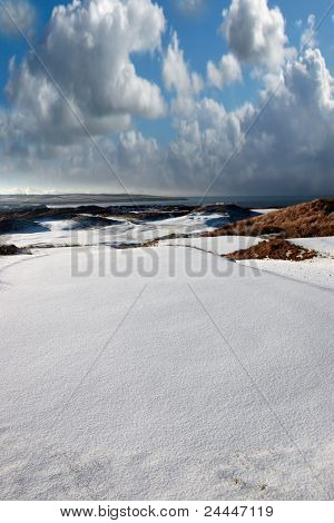 Atlantic Coastal Snow Covered Links Golf Course