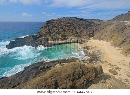 View Of Halona Beach Cove In Hawaii