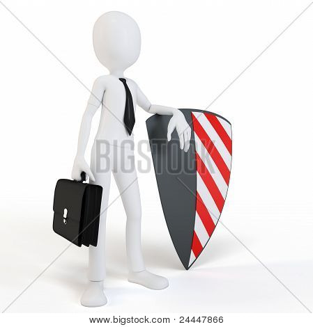 3D Man Businessman With Shield