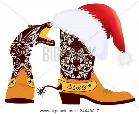 Cowboy Boots And Santa's Red Hat On White For Design