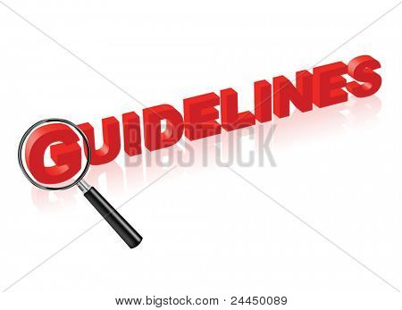 guidelines or instructions indicated by red text and magnify glass search button for manual