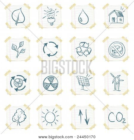 Sticker Eco Icon Set Isolated on White Background. Vector EPS8.