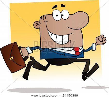 African American Businessman Running To Work