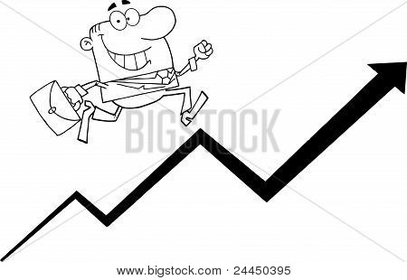 Outlined Businessman Running Upwards