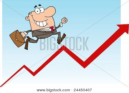 Businessman Running Over A Statistics Arrow