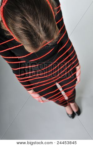 Tied - Young Woman In Ropes