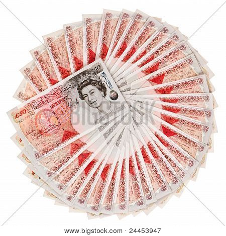 Viele 50 Pfund Sterling Banknoten aufgefächert, Isolated On White