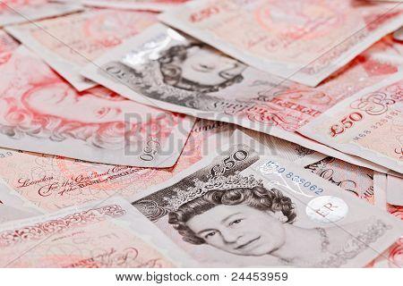 Fondo de negocios de vista de cerca de 50 libra esterlina billetes de Banco
