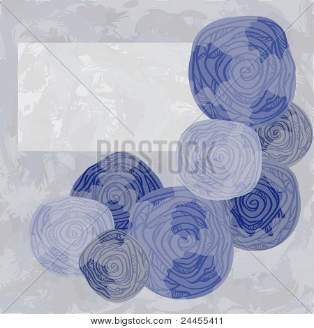 Vector Greeting Card With Abstract Roses On Grunge Background