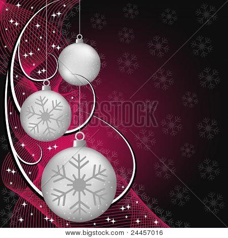 Bolas de plata de la Navidad en rojo y negro
