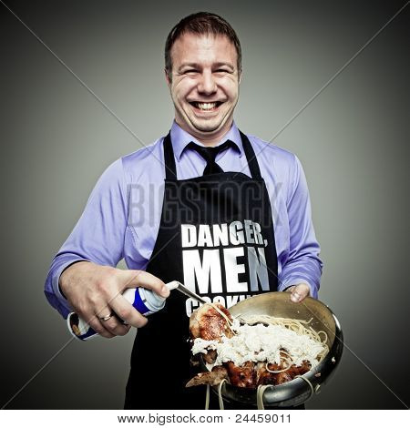 Man cooking some strange things and having fun
