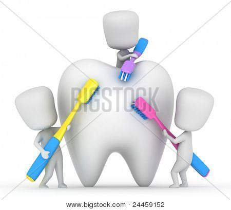 3D Illustration of Kids Brushing a Tooth