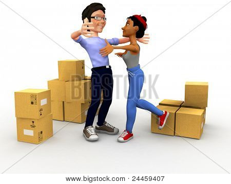 3D couple moving house and carrying boxes - isolated