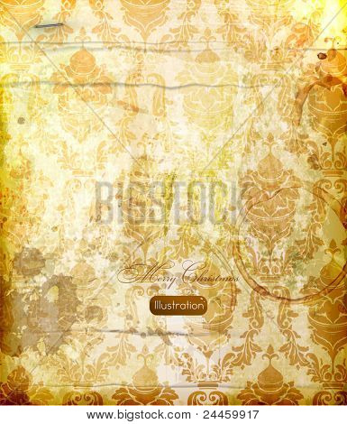 elegant damask background with classical wallpaper pattern, slightly grungy texture and light effects