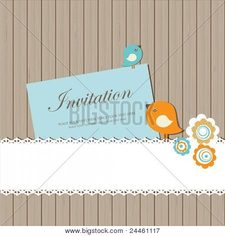 Vintage invitation card with birds, lace  and flowers on wooden background