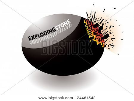 Black pebble or stone exploding on one corner