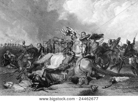 Richard III and the Earl of Richmond at the Battle of Bosworth in 1485. Engraved by J.Rogers and published in England's Battles by Sea and Land, United Kingdom, 1857.