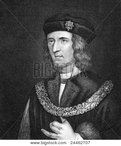 Richard III of England (1452-1485). Engraved by Bocquet and published in the Catalogue of the Royal and Noble Authors, United Kingdom, 1806.