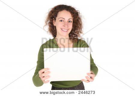 Young Woman And White Sheet On White