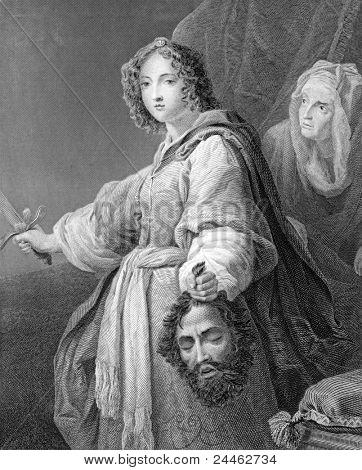 Judite com a cabeça de Holofernes. Gravado por J.Carter e publicado em gemas de arte Europeia, unidade