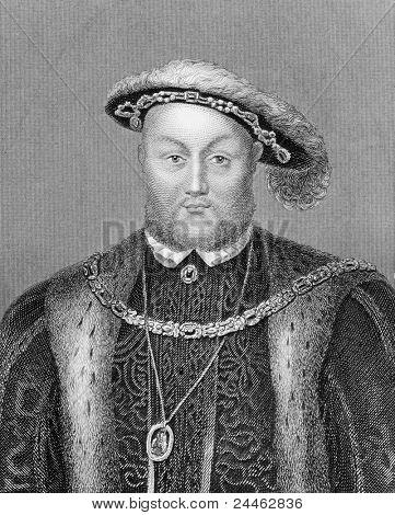 Henry VIII (1491-1547). Radierung von Bocquet und veröffentlicht im Katalog des Royal and Noble Au
