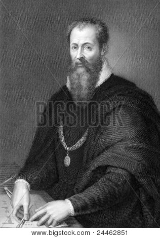 Giorgio Vasari (1511-1574) on engraving from 1841. Italian painter, writer, historian, and architect, who is famous today for his biographies of Italian artists, considered the ideological foundation of art-historical writing. Engraved by J.Andrews from a