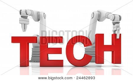 Industrial Robotic Arms Building Tech Word