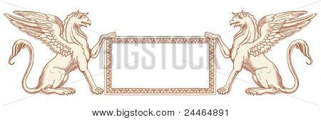 Vintage frame & Griffins, seated on an Ionic column - hand draw sketch. Bitmap copy my vector ID 84472294