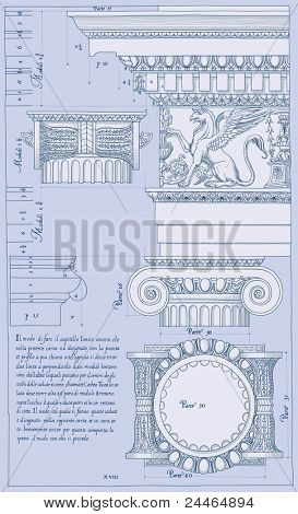 Hand draw sketch ionic architectural order. Bitmap copy my vector ID 84472303