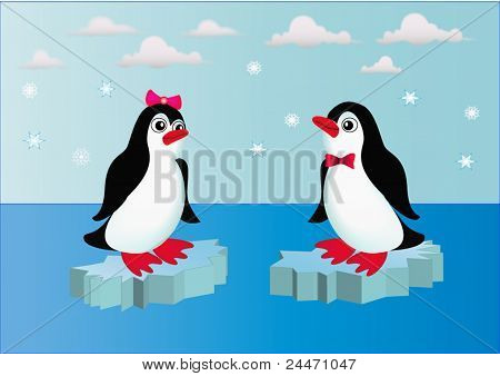 Penguins On Block Of Ice With Bow