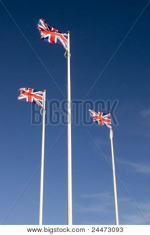 Three Union Jack Flags